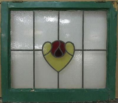 "MIDSIZE OLD ENGLISH LEADED STAINED GLASS WINDOW Abstract Heart 24.75"" x 21.75"""