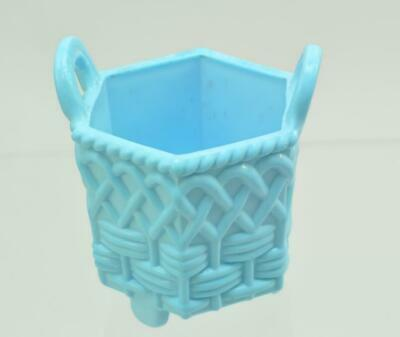 Antique Sowerby Milk Blue Pressed Glass Footed Hexagonal Basket 1876