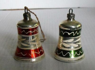 2 Early German Blown Glass Small Hand Painted Bells Christmas Ornaments