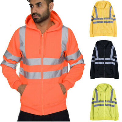 High Visibility Insulated Safety Bomber Reflective Hooded Sweatshirt Coat Hi-Vis