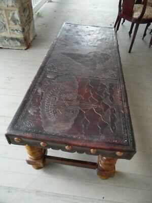 Vintage South American Hand Made Studded Tooled Leather Coffee Table Carved Wood