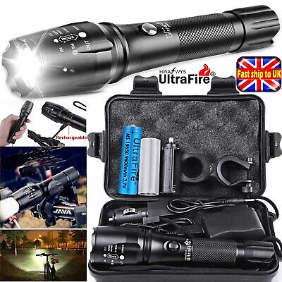 Rechargeable 350000LM Flashlight Zoom T6 LED Tactical Bike Light Torch Headlamp