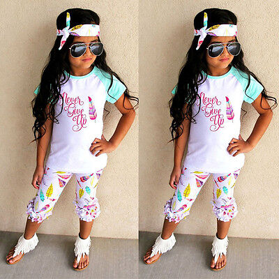 Newborn Toddler Baby Girls Letter Tops Feather Printed Pants Outfits Clothes UK