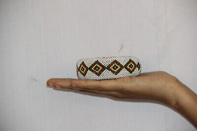 Pot Ring Cloth Hand Beads Made Indian Tribal Woman Head Pot Vintage Ring - 11366