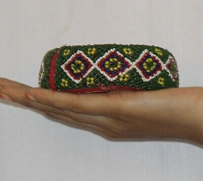 Pot Ring Cloth Hand Beads Made Tribal Woman Head Pot Vintage Ring - 11362