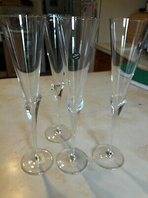 Rosenthal Calice 4 Tall Crystal Toasting Flutes - 12 Inches