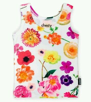 NEW BONDS Girls RARE Dropped Floral Chesty Singlet sized 0 - 3 months / 000