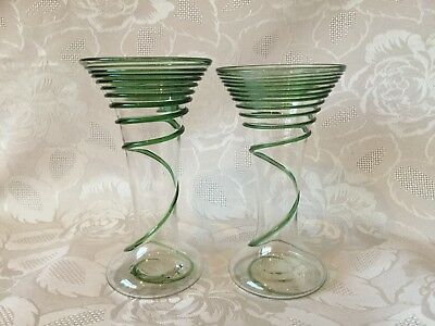 Two Rare Beautiful Antique/Art Deco Blown Glass Vases With Green Swirl