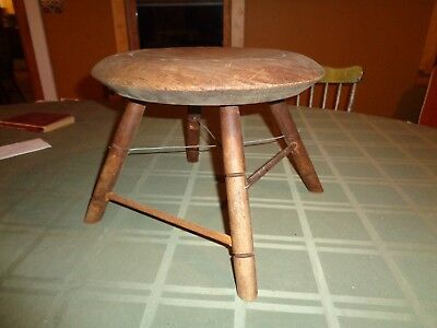 Antique wood milking stool 4 leg Farm Concord Mass foot ottoman