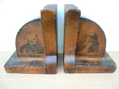 Pair of vintage French Breton bookends, poker work figures, fisherman & wife