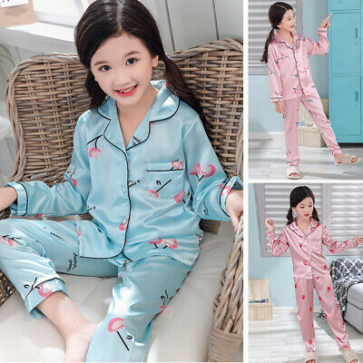 Kids Girl Silk Satin Pyjamas Set Boys PJS Loungewear Long Sleeved Sleepwear Home