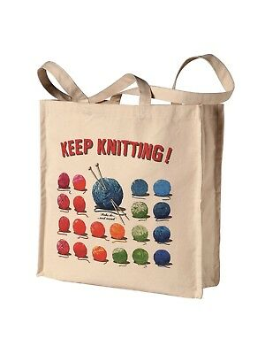 Keep Knitting- Generous Size Canvas Project Tote Bag= Great gift for Knitter!