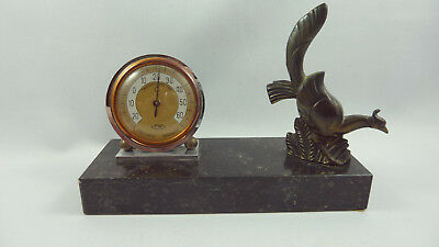 Stunning and rare French Art Deco Desk Thermometer + Régule bird on marble base