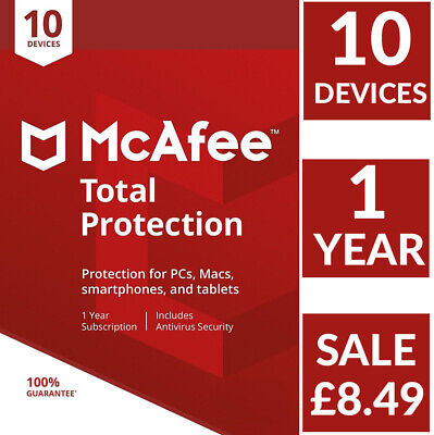 McAfee Total Protection 2019, 2020 (10 Multi-Devices) 1 Year Delivery by Email
