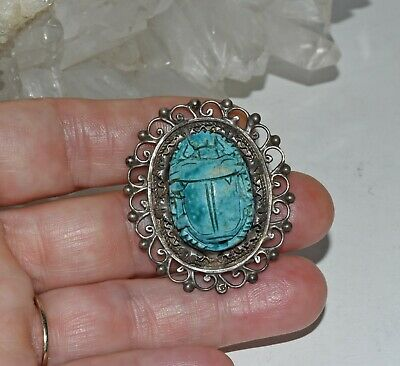 Vtg Egyptian Faience Turquoise Clay Scarab 800 Silver Filigree Pin Brooch