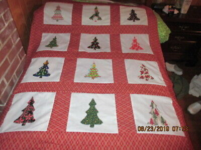 Pretty Christmas Tree   Appliqued  Quilt Top New  8/2019