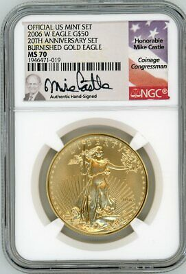 2006 W $50 Burnished Gold Eagle 20th Anniversary MS70 NGC Mike Castle