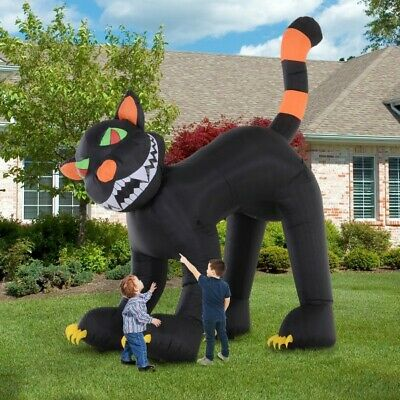 NEW- 10' Lighted Inflatable Outdoor Halloween Yard Decoration Animated Black Cat