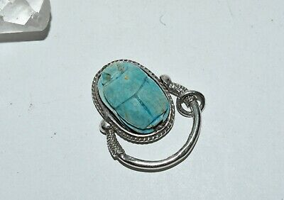 Vtg Egyptian Faience Turquoise Clay Scarab Sterling Silver Swivel Ring Pendant