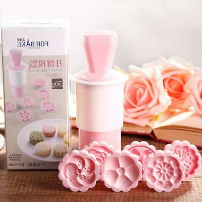 Moon Cake Mould Mold Hand Pressure Flower Decor Motif Pastry Round+Stamps JO
