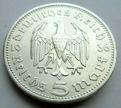 (698)ANTIQUE WWII   German 3rd Reich  1936 A   5 Reichsmark Silver Coin