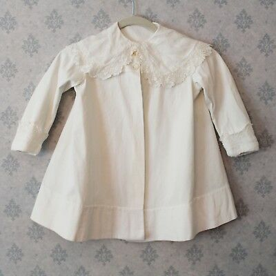 Late 1910s to Early 1920s Thomas & Atwood Child's White Irish Lace Trimmed Coat