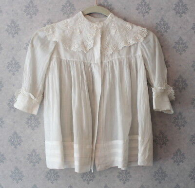 Late 1910s to Early 1920s Child's White Sheer Cotton Irish Lace Trimmed Coat