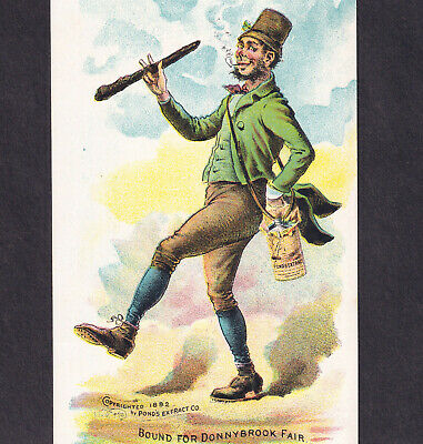 Irish 1892 Bound for Donnybrook Fair Ponds Extract Cure-All Victorian Trade Card