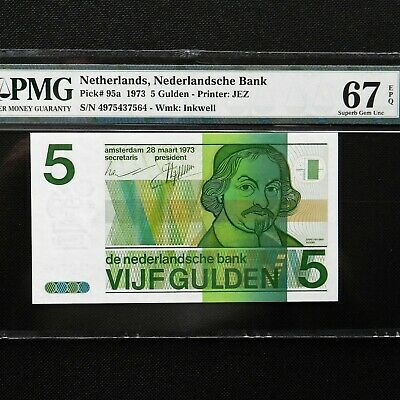 1973 Netherlands 5 Gulden, Pick # 95a, PMG 67 EPQ Superb Gem Unc.