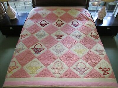 FOR RESTORATION & In Need Of Laundering: Vintage Feed Sack BASKET Heavy Quilt