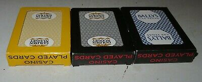 Casino Playing Cards Used LAS VEGAS Bally's Golden Nugget Nevada Set of 3 Packs