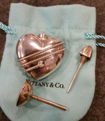 Tiffany & Co. Sterling Silver Heart with Wrapped Arrow Perfume Flask with Funnel