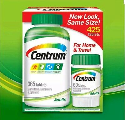 Centrum Adults 425 (365+60) Tablets family pack  WORLDWIDE FREE SHIP Exp ≥ 12/20