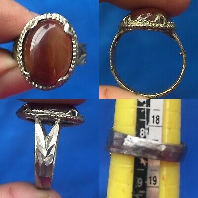 very beautiful agate stone antique wonderful brass ring