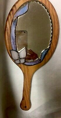 Hand Mirror Vintage Handcrafted Stained Oval Glass Butterfly Wooden Hand Mirror