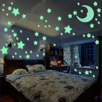 100 Glow Stars & 1 Moon In The Dark Star Nice Stickers Ceiling Wall Bedroom