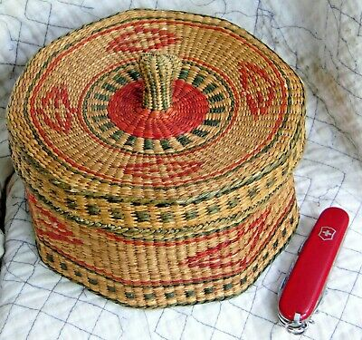 Vintage Chinese Handwoven Lidded Basket