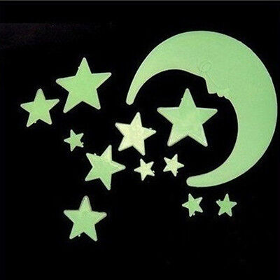 44Glow In The Dark Stars and 2 Moon Plastic Stickers Ceilings & Walls Bedroom UV