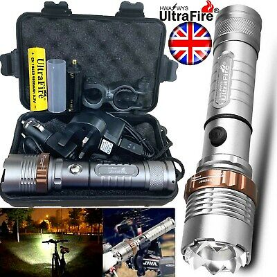 Tactical Rechargeable 350000LM Flashlight Zoom T6 LED Bike Light Torch Headlamp
