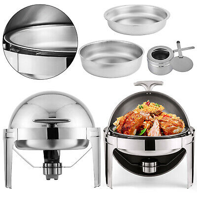 Pack Of 2 Stainless Steel Chafing Dish Sets Round Roll Food Warmers W/Spoon Clip