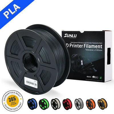 SUNLU PLA 3D-Drucker Filament 1.75mm 1KG/2.2lb Spool Black Print Material