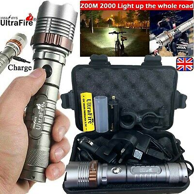 Rechargeable 350000LM Flashlight Zoom T6 LED Bike Light Torch Headlamp Camping