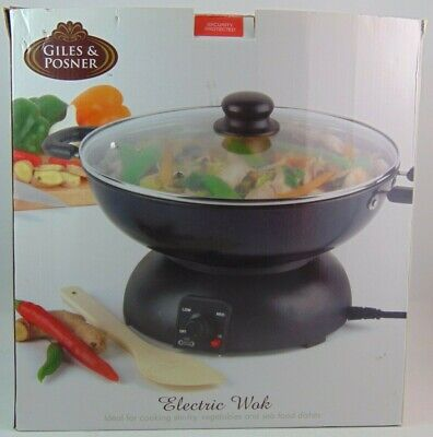 Giles & Posner Dark Grey Electric Wok with Cool Touch Handles