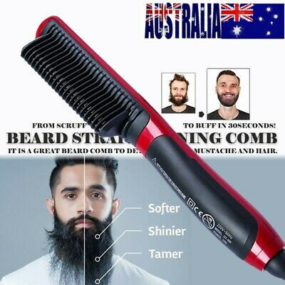 Quick Heated Electric Beard hair Straightener comb Curling Shaping tool brush D