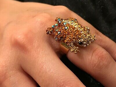 Capiz Gold Amber Sapphire Diamante Encrusted Frog Toad Womans Wow Statement Ring
