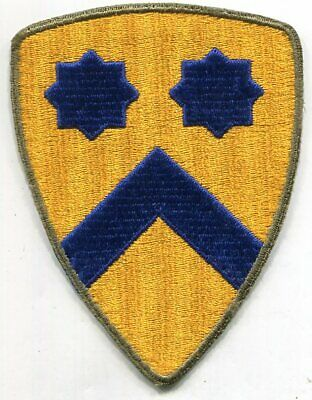 US Army Patch: 2nd Cavalry Division, cut edge, OD border, WWII era