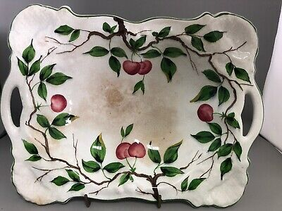 Pretty Antique Hand Painted Serving Dish - Cherries