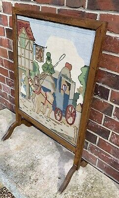 Vintage Fire Screen With Hand Embroidered / Cross Stitch Lady & Horse Cart