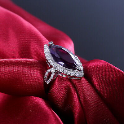 Gorgeous 925 Silver Wedding Rings for Women Marquise Cut Amethyst Ring Size 6-10