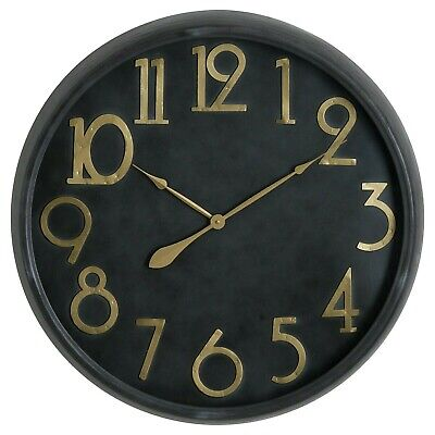LARGE 80cm WALL CLOCK black & gold Finish contemporary retro clock metal frame